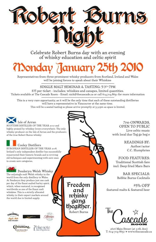 RobbieBurnsPoster1 662x1024 - Robert Burns events around Vancouver