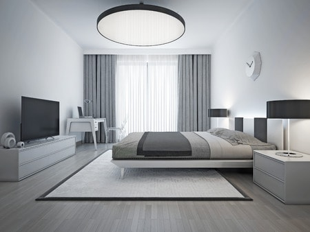46197867 - elegant bedroom contemporary style. monochrome interior bedroom with elegant double bed and white patterned carpet with black frame. 3d render