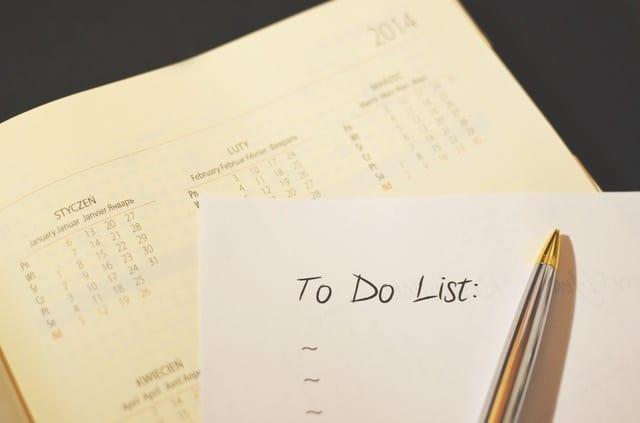 pen calendar to do checklist 2 - The Ultimate Wedding Checklist