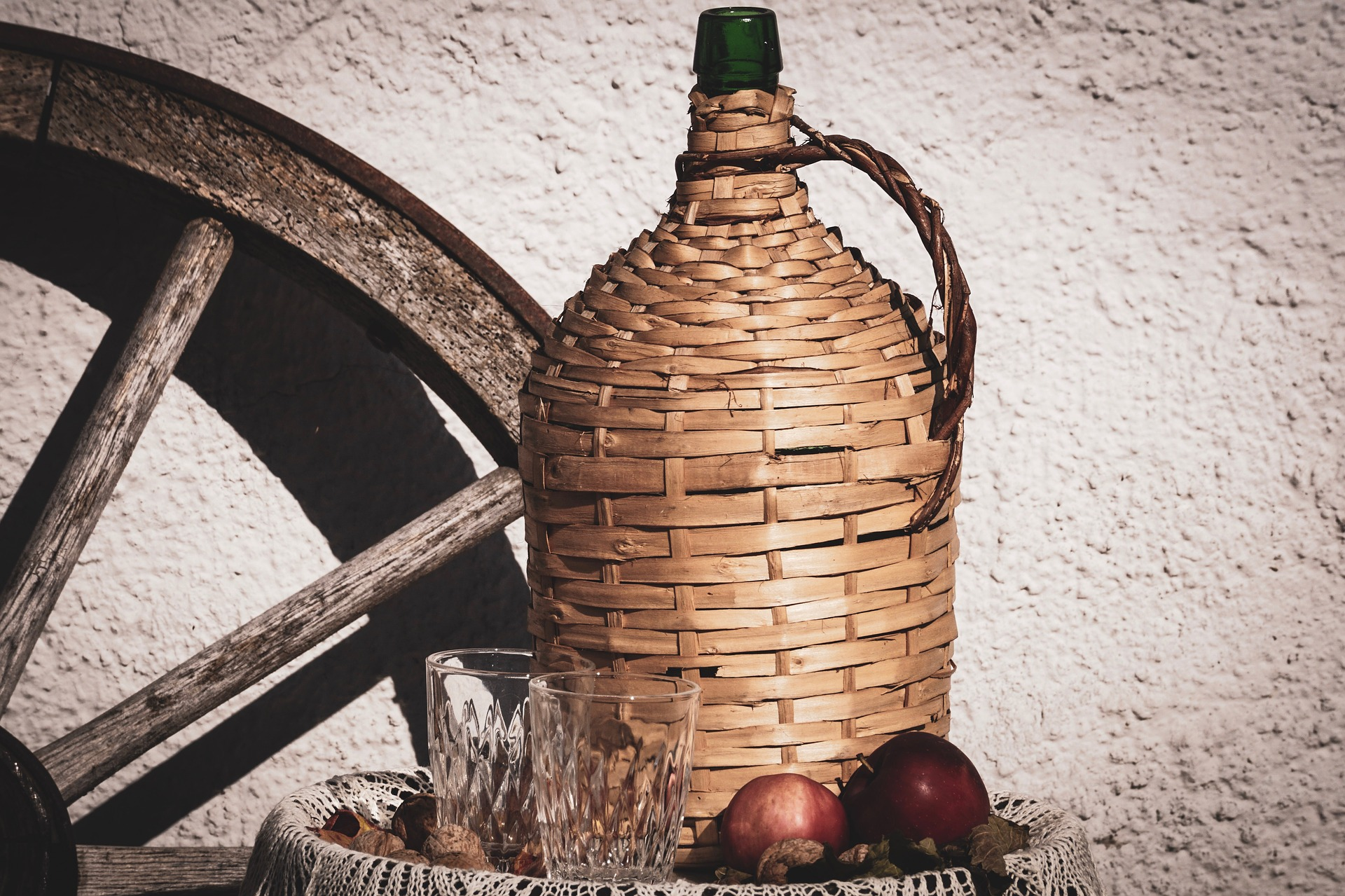Wine bottle in woven container