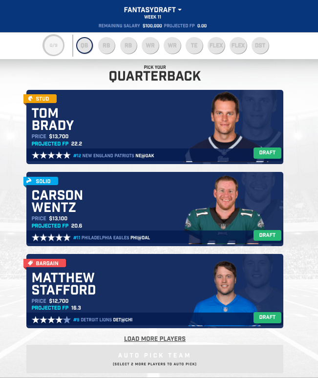 Lineup Wizard QB - Fantasy Advantage – a New Way to Play DFS