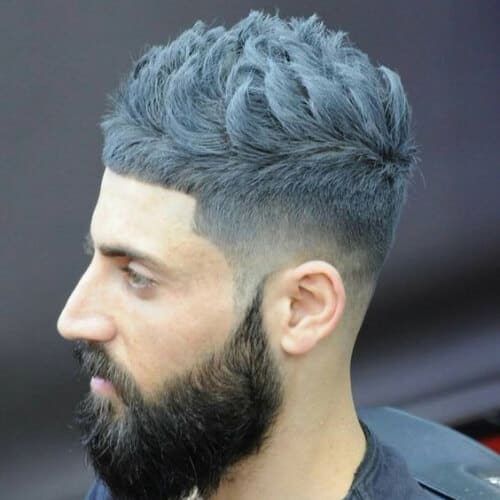 Gray Messy Hair with Contrasting Beard - Top 10 Popular Men Hairstyles in 2019