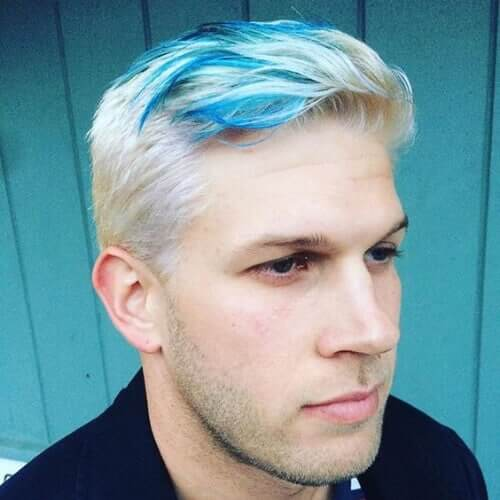 Icy Blue Streak Layered Short Haircut - Top 10 Popular Men Hairstyles in 2019