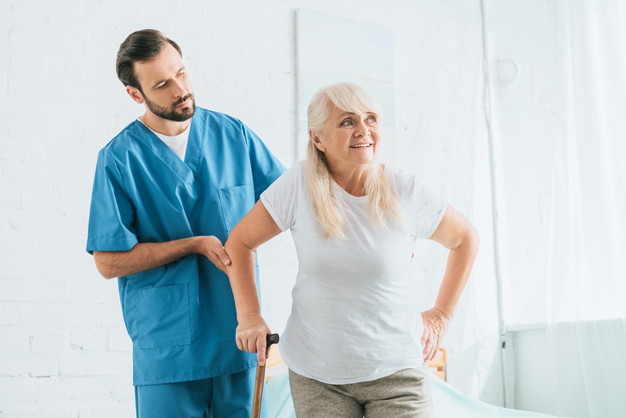 male nurse caring patient